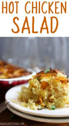 Hot Chicken Salad Casserole is a simple chicken and rice casserole recipe that might just be the ultimate comfort food. Add this to your weekly meal plan! Entree Recipes, Dinner Recipes, Cooking Recipes, Potluck Recipes, Hot Chicken Salads, Chicken Rice, Cheesy Chicken, Chicken Soup, Casserole Recipes