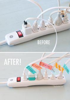 cord organization using washi tape