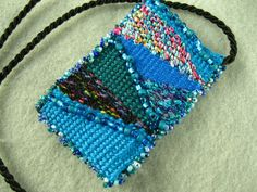 Handwoven Beaded Tapestry Pendant in Turquoise Blue by dinahsrose, $55.00