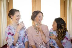 Golden Oaks Farm Styled Shoot Bride and Bridesmaids Cheers  | Courtney June Photography | Oh Sugar Bride - robes