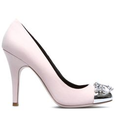Light pink pump with silver toe cap and jewels