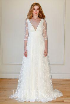 Lovely lace sleeves on this V-neck @delphinemanivet wedding dress   Brides.com