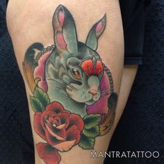 Rabbit head rose tattoo done by Mike O'Farrell here at Mantra Tattoo, Rabbit Head, Tattoos, Rose, Pink, Roses, Irezumi, Tattoo, Tattoo Illustration