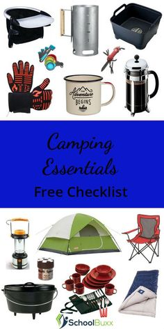 What essential #gear do you need for a success family #camping trip? Get a free camping essentials checklist now! Plan Camping Trip | What to Pack | Camping Gear | Camping Essentials | Camping with #kids | Glamping Gear | What to Buy for Camping.