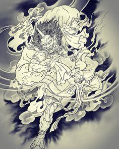 fujin..grey.. . . ✔원하시는 주제 말씀하시면 1인1도안으로 디자인하여 작업해드립니다. (상담&문의 Demon Tattoo, Samurai Tattoo, R Tattoo, Body Art Tattoos, Japanese Tattoo Art, Japanese Sleeve Tattoos, Japanese Tattoo Designs, Japanese Art, Knight Tattoo