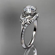 platinum diamond floral wedding ring,engagement ring ADLR125