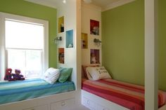 Double Corner Beds Furniture Sets and Green Wall Decor in Modern Teenagers Bedroom Paint Decorating Designs Ideas
