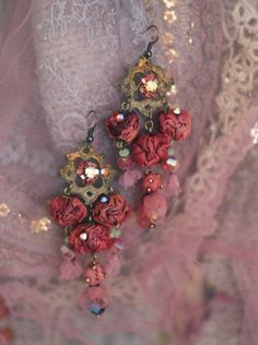 Clothilda --fairytales  inspired bold lightweight earrings from sculpted textile, vintage lace and crystals