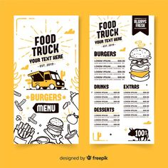 Hand drawn food truck menu template Free Vector The Effective Pictures We Offer You About street food A quality picture Food Trucks, Food Truck Menu, Fast Food Menu, Food Menu Template, Restaurant Menu Template, Restaurant Menu Design, Menu Templates, Frame Template, Restaurant Food