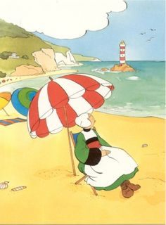 Bécassine Joseph, Female Protagonist, Beach Umbrella, Beach Girls, Happy Campers, Art Techniques, Illustrations, Comic Strips, The Past