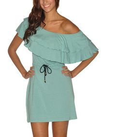Another great find on #zulily! Seafoam Ruffle Kaia Off-Shoulder Dress by vfish #zulilyfinds