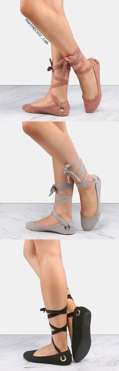 Online shopping for Faux Suede Wrap Up Flats MAUVE from a great selection of women's fashion clothing and more at MakeMeChic.COM. ** Check out the image by visiting the link. #fashionshoes