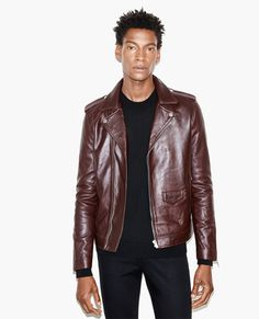 Burgundy leather biker jacket - CUIR MAN