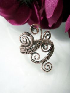 Wire Wrapped Adjustable Ring Copper Handmade by PerfectlyTwisted, $26.00
