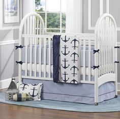 NEW!! Nautical 4-pc. Baby Bedding Set. Liz and Roo has introduced two new sets with bumpers. This Nautical set features classic oxford cloth on the bumpers and crib skirt. See all the new sets at www.LizandRoo.com