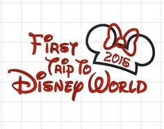 """Minnie or Mickey Mouse 2015 Disney """"First Trip to Disney World"""" Embroidery Applique Digital Design Pattern - INSTANT DOWNLOAD 4x4 5x7 6x10 by LauraBethDesignsLLC on Etsy https://www.etsy.com/listing/224581871/minnie-or-mickey-mouse-2015-disney-first"""