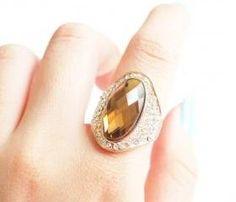 Rose gold brown crystal ring, vintage ring, stylish ring, woman ring, cool ring, gift ring, big ring, fashionable ring, princess rings, SKU500574