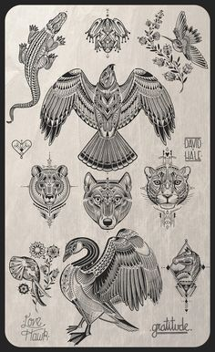 David hale tattoo flash - I can not express how badly I want a piece of this man's art!