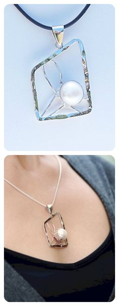 Necklace     Sterling Silver     Natural Pearl      Geometry Collection      Contemporary Modern Design    