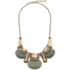 Oval Stone Charm Short Necklace ($10) ❤ liked on Polyvore