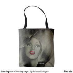 Tote d'épaule - Tote bag imprimmé printed Art Red Lips, Reusable Tote Bags, Art Prints, Printed, Style, Art Impressions, Swag, Prints, Outfits