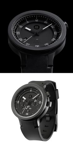 Minus-8 | Layer - leather   mens-stainless steel watch - black black