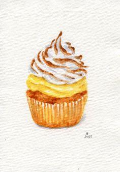Lemon meringue cupcake - Miniature Painting (Still Life, Kitchen Wall Art, Watercolour Food Illustration) Cate Small Art