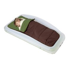 Shrunks Tuckaire Toddler Outdoor Travel Air Mattress Bed w/ Rails & Sleeping Bag Toddler Camping Bed, Portable Toddler Bed, Toddler Travel Bed, Baby Travel Bed, Tent Camping, Camping Packing, Bed Protector, Inflatable Bed, Sleeping Under The Stars