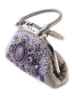 Evening embroidered handbag, gray, lilac, swarovski crystals,Beaded IPhone Pouch, handmade bags clasp purse Gift for her clasp bag jasper