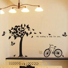 Various Color Tree Butterfly Bicycle Decor Mural Art Wall Sticker Decal WY1222(China (Mainland))