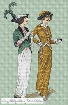 0 point de croix femmes mode vintage - cross stitch fashion of vintage ladies 2
