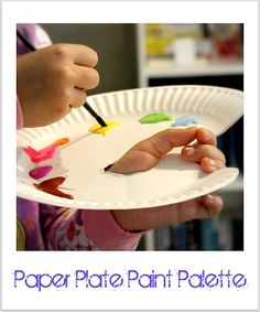 paper plate paint palette for kids #diy #kid friendly. Could use plastic plates and cover with cellophane. It lasts for over a week ~!~