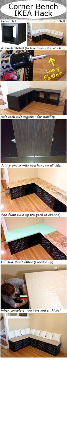 DIY Corner bench - could use milk crates for this on the small wall in kitchen for storage bench / seating For the kitchen eating issue
