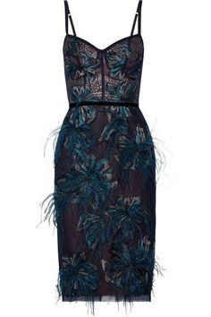 Marchesa Notte | Feather-embellished embroidered metallic tulle dress | NET-A-PORTER.COM