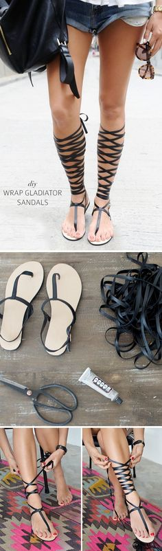 DIY Lace up gladiator sandals (not for me but would be a fab project and look great on someone else)
