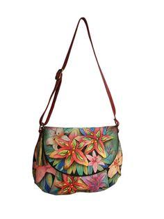 0398b86f5 Anuschka Handbags Luscious Lilies Hand-Painted Leather Convertible Shoulder  Bag by Anuschka Handbags