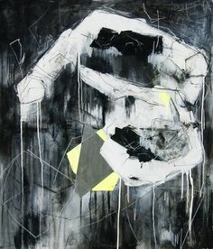 "Buy Scars, a Acrylic on Canvas by Ewa Matyja from Poland. It portrays: Abstract, relevant to: black, silver, white, abstract, artwork, intuitive, large, neon ""Scars"" is a large abstract fine art painting that belong to the Neon Collection."