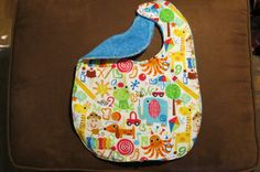 Waterproof Child's Bib Animal Alphabet Special Needs Child Waterproof Barrier bib Snaps ProCare lining Reversible Child Bib Bright Colorful by NammersCrafts on Etsy