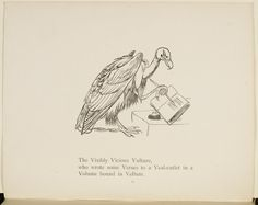 Haha! The Visibly Vicious Vulture. Illustration and verse from Nonsense Botany, Animals and other poems written and drawn by Edward Lear.  © The British Library Board