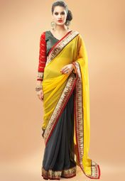 Admyrin Yellow Embellished Saree Online Shopping Store
