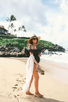 FEBRUARY 8, 2017 Black Off-The-Shoulder Swimsuit in Maui - SWIMSUIT: Topshop | COVER UP: Hinge | HAT: Brixton | BAG: Hat Attack | SANDALS: Valentino | SUNGLASSES: LeSpec | EARRINGS: BaubleBar c/o