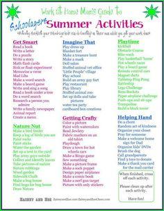 Schoolagers Summer Activities