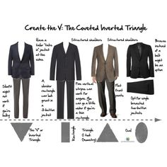 Man Monday: Create the V. There are as many shapes for men as there are for women, but most fall in these categories: Inverted Triangle, Rectangle, Triangle, and Oval. Inverted Triangle Outfits, Inverted Triangle Body, Triangle Body Shape, Male Body Shapes, Mens Body Types, Big Shoulders, Sweater And Shorts, Womens Fashion For Work, Black Men