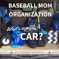 What's in my Car? Baseball Mom Organization ~ one dollar cottage Travel Baseball, Baseball Tips, Baseball Mom, Baseball Games, Baseball Stuff, Baseball Field, Baseball Equipment, Baseball Tickets, Baseball Scores