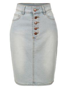 LE3NO Womens High Waisted Button Up Denim Midi Pencil Skirt