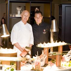 Chef Christian Rassinoux and Chef Stephane Chevet serving Kurobuta Pork Crisp, Seared Tofu with a Nihon Caramel Glaze at the 2012 Hospitality Gala