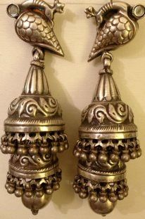 silver jhumkas my collection Silver Jhumkas, Silver Earrings, Silver Jewelry, Cross Jewelry, Tribal Jewelry, Antique Silver, Antique Jewelry, 925 Silver, Silver Rings With Stones
