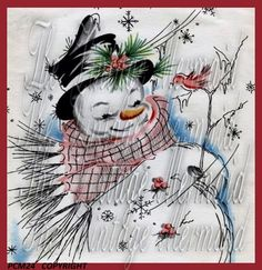 PCM24 Comical Vintage Snowman Fabric by mermaidfabricshop on Etsy