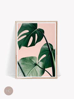Palm Leaf PrintPink and GreenLeafArtTropical PrintExotic