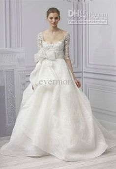 Wholesale 2013 Muslim three quarters Sleeves Lace Tulle Embroidery Jacket with Bow Wedding Dresses Bridal Gown, Free shipping, $229.99~237.62/Piece | DHgate Mobile